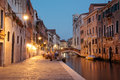 Cannaregio night scene in historic residential neighborhood in venice Stock Photography
