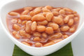 Canned beans on white plate Stock Photo