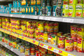 Canned food choice and variety of bean in the supermarket shelves photo was taken on april Stock Photos