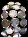 Canned food interesting group of Royalty Free Stock Photos