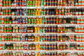 Canned food in supermarket bucharest romania april on stand Royalty Free Stock Photography