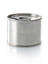 Canned food tin on a white background Stock Photo