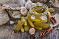 Canned pickles and preserved fresh homemade in glass jar Stock Photos