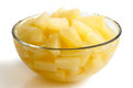 Canned pineapple pieces in a glass bowl.