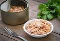 Canned tuna fish in bowl Royalty Free Stock Photo