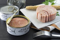 Canned tuna on the plate Royalty Free Stock Photo