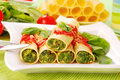 Cannelloni with spinach Royalty Free Stock Images
