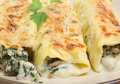 Cannelloni with Spinach and Pork Royalty Free Stock Photos
