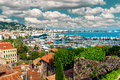 Cannes france panoramic view of le suquet the old town and port le vieux of Stock Images