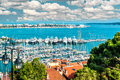 Cannes france panoramic view of le suquet the old town port le vieux and la croisette of Royalty Free Stock Photography