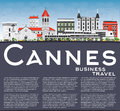 Cannes Skyline with Gray Buildings, Blue Sky and Copy Space Royalty Free Stock Photo