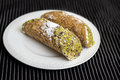 Cannoli with pistachios Royalty Free Stock Photo