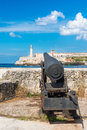 Cannon aiming at the fortress of el morro in havana old famous old Royalty Free Stock Photography