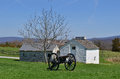 Cannon and barns antietam national battle field with skyline background Stock Photos