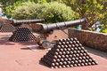 Cannon and cannon balls. Monaco Royalty Free Stock Photos