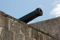 Cannon at caribbean fort barrel of a historic artillery piece montagu nassau bahamas Stock Image