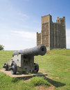 Cannon and castle Royalty Free Stock Image