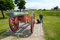 Cannon citadel copenhagen kastellet with protecting the city bastion gun in fortification in denmark Royalty Free Stock Photography