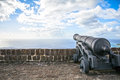 Cannon faces the Caribbean Sea at Brimstone Hill Fortress on Sai Royalty Free Stock Photo