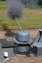 Cannon the firing of the ship at the landfill testing of marine guns Royalty Free Stock Image
