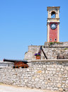Cannon in the fortress town of corfu greece europe a tower Stock Photography
