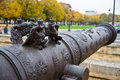 Cannon gargoyles antique guarded by at museum de l armee Royalty Free Stock Photo