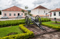 Cannon at lapa parana brazil a with its historical buildings Royalty Free Stock Images