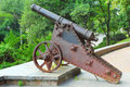 Cannon old rusty at rampart in chernigic ukraine Stock Photo