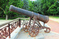 Cannon old rusty at rampart in chernigic ukraine Royalty Free Stock Photos