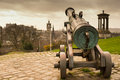 Cannon pointing towards the city portuguese brass of edinburgh a view from calton hill Royalty Free Stock Images