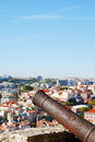 Cannon weapon iron protecting the capital of portugal lisbon Royalty Free Stock Photography