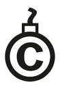 Cannonball-shaped copyright sign Royalty Free Stock Photography