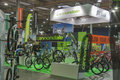 Cannondale booth at bike trade show visitors visit velobike in kiev ukraine velobike is one of the most important Royalty Free Stock Image