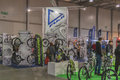 Cannondale and fuji boothes at bike trade show visitors visit velobike in kiev ukraine velobike is one of the most Stock Images