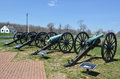 Cannons antietam national battle field maryland large cannon guns with skyline background Stock Photo