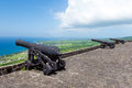Cannons at Brimstone hill fortress, island St. Kitts and Nevis Royalty Free Stock Photo