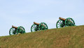 Cannons medieval on the wooden gun carriage standing on a hill Royalty Free Stock Photos