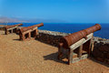 Cannons on preguica sao nicolau island cape verde cabo africa remains of the fortress built in defense against sir francis Stock Photos