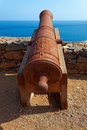 Cannons on preguica sao nicolau island cape verde cabo africa remains of the fortress built in defense against sir francis Stock Photography