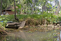 Canoe boats on backwaters of kerala state south india Royalty Free Stock Photography