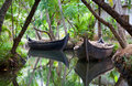 Canoe boats on Kerala backwaters Royalty Free Stock Photos