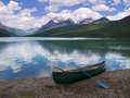 Canoe at Bowman Lake Stock Images