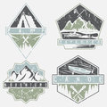Canoe, camping and adventure  grunge labels set Royalty Free Stock Photo