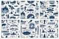 Canoe, Kayak and fishing Club seamless pattern. Royalty Free Stock Photo