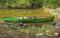 Canoe on a Remote Lake Shore Royalty Free Stock Photo