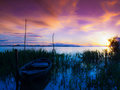 Canoe in sunset Royalty Free Stock Photo