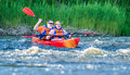 Canoe swift river pair or kayaking on Stock Photo