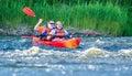 Canoe swift river pair or kayaking on Stock Photo