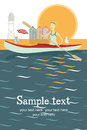 Canoe trip card girl and bird in sea with Stock Photography