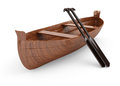 Canoe on white background d render Royalty Free Stock Photo